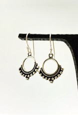 Sterling Silver Open Circle with Granulated Design Earrings