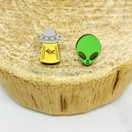 Handmade Alien Joyride Lasercut Wood Earrings on Sterling Silver Posts