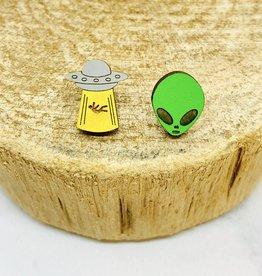 Handmade Alien Joyride Lasercut Wood Earrings on Sterling Silver Posts