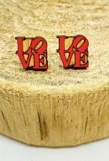 Unpossible Cuts Handmade LOVE Lasercut Wood Earrings on Sterling Silver Posts