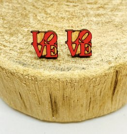 Handmade LOVE Lasercut Wood Earrings on Sterling Silver Posts