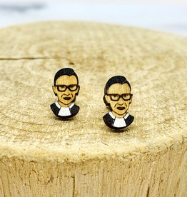 Handmade RBG Lasercut Wood Earrings on Sterling Silver Posts