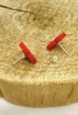 Unpossible Cuts Handmade 8 Bit Heart Lasercut Wood Earrings on Sterling Silver Posts