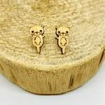 Handmade Otter Lasercut Wood Earrings on Sterling Silver Posts