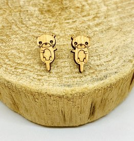 Handmade Otter Lasercut Wood Earrings on Sterling Silver Posts