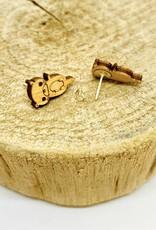 Unpossible Cuts Handmade Otter Lasercut Wood Earrings on Sterling Silver Posts