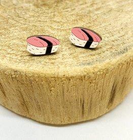 Handmade Sushi Lasercut Wood Earrings on Sterling Silver Posts