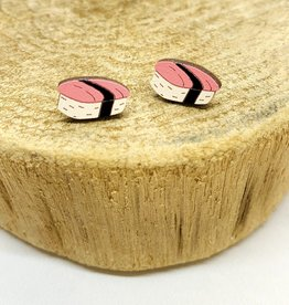 Unpossible Cuts Handmade Sushi Lasercut Wood Earrings on Sterling Silver Posts