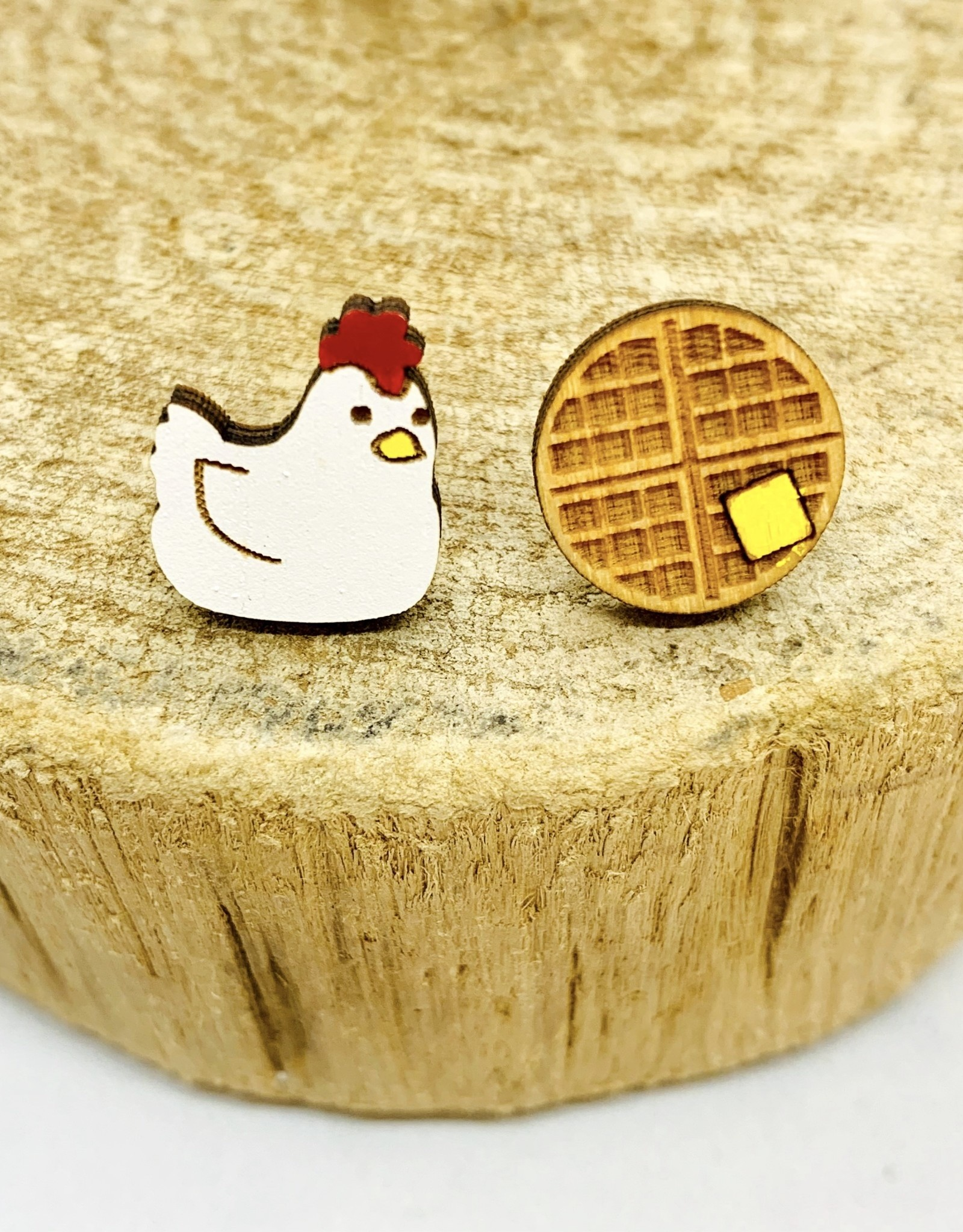 Unpossible Cuts Handmade Chicken and Waffles Lasercut Wood Earrings on Sterling Silver Posts