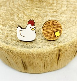 Handmade Chicken and Waffles Lasercut Wood Earrings on Sterling Silver Posts