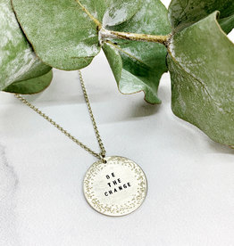 "Christina Kober Handmade Silver ""BE THE CHANGE"" Diamond Dusted Small Coin Necklace, 16/18"""