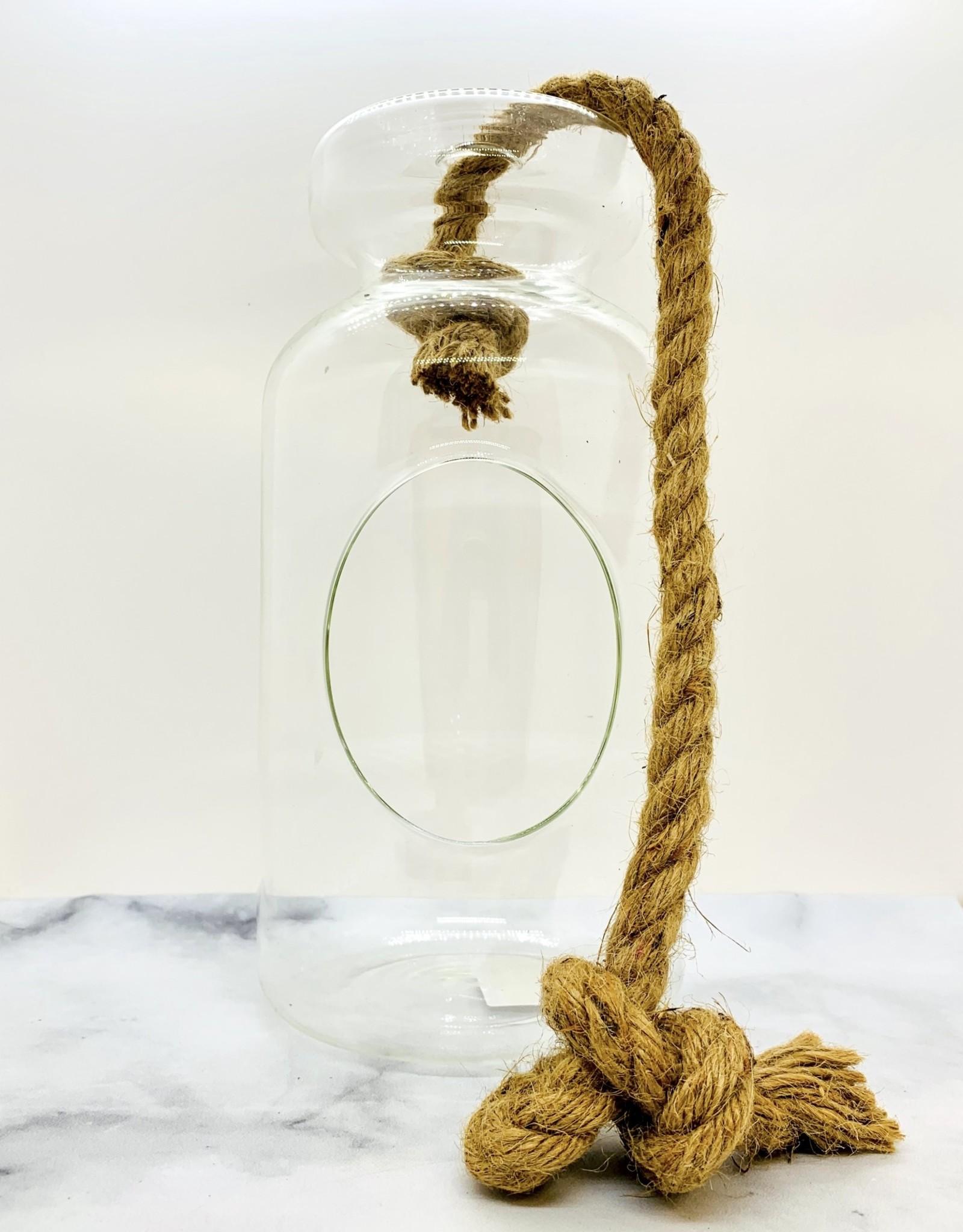 "CREATIVECOOP 11""H Glass Hanging Terrarium w/ Jute Rope-Jute Rope - DA7488"