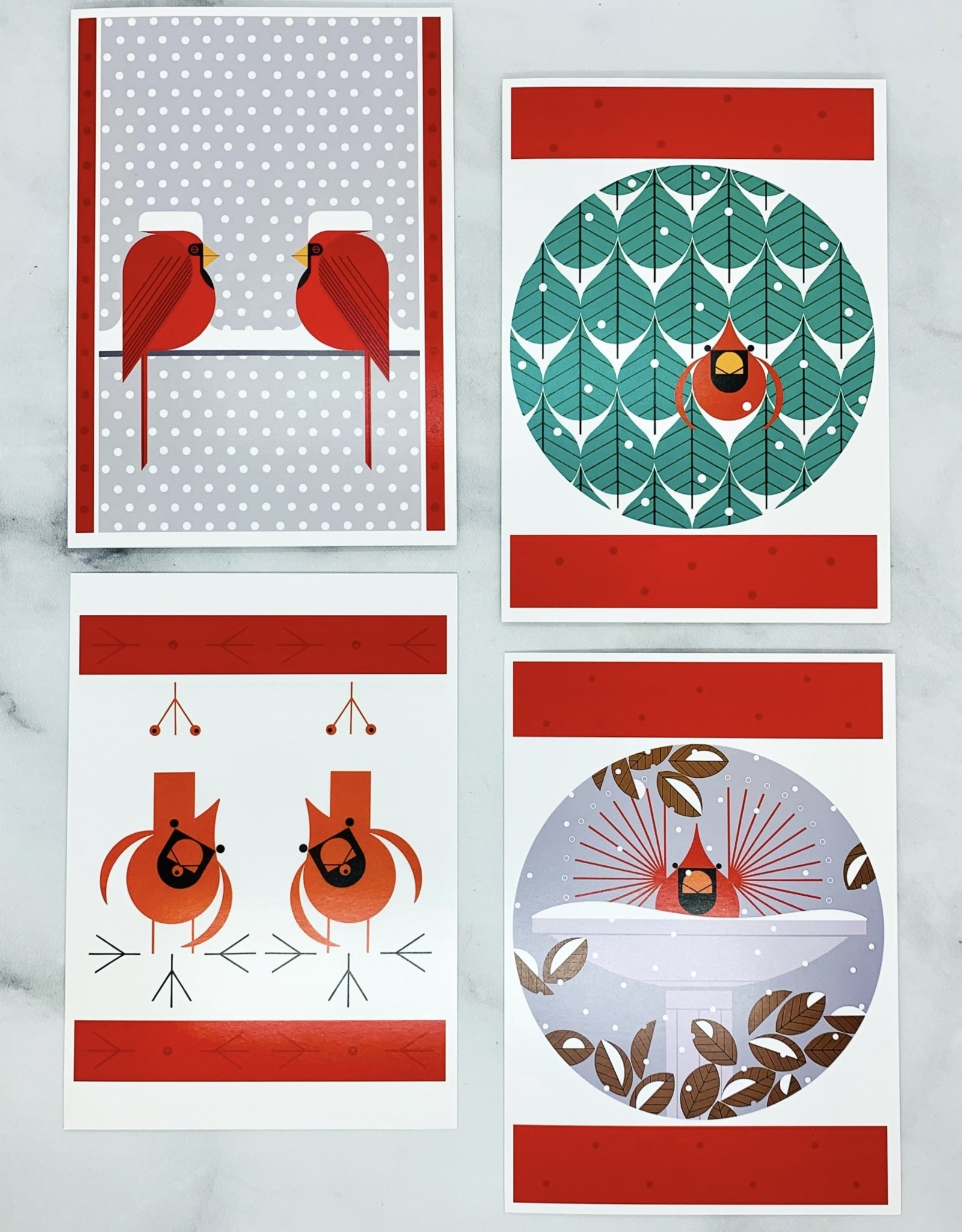 POMEGRANATE Charley Harper Cool Cardinals Box Set of 20 Assorted Holiday Cards