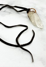 HawkHouse Quartz Cluster Banger on Leather Necklace