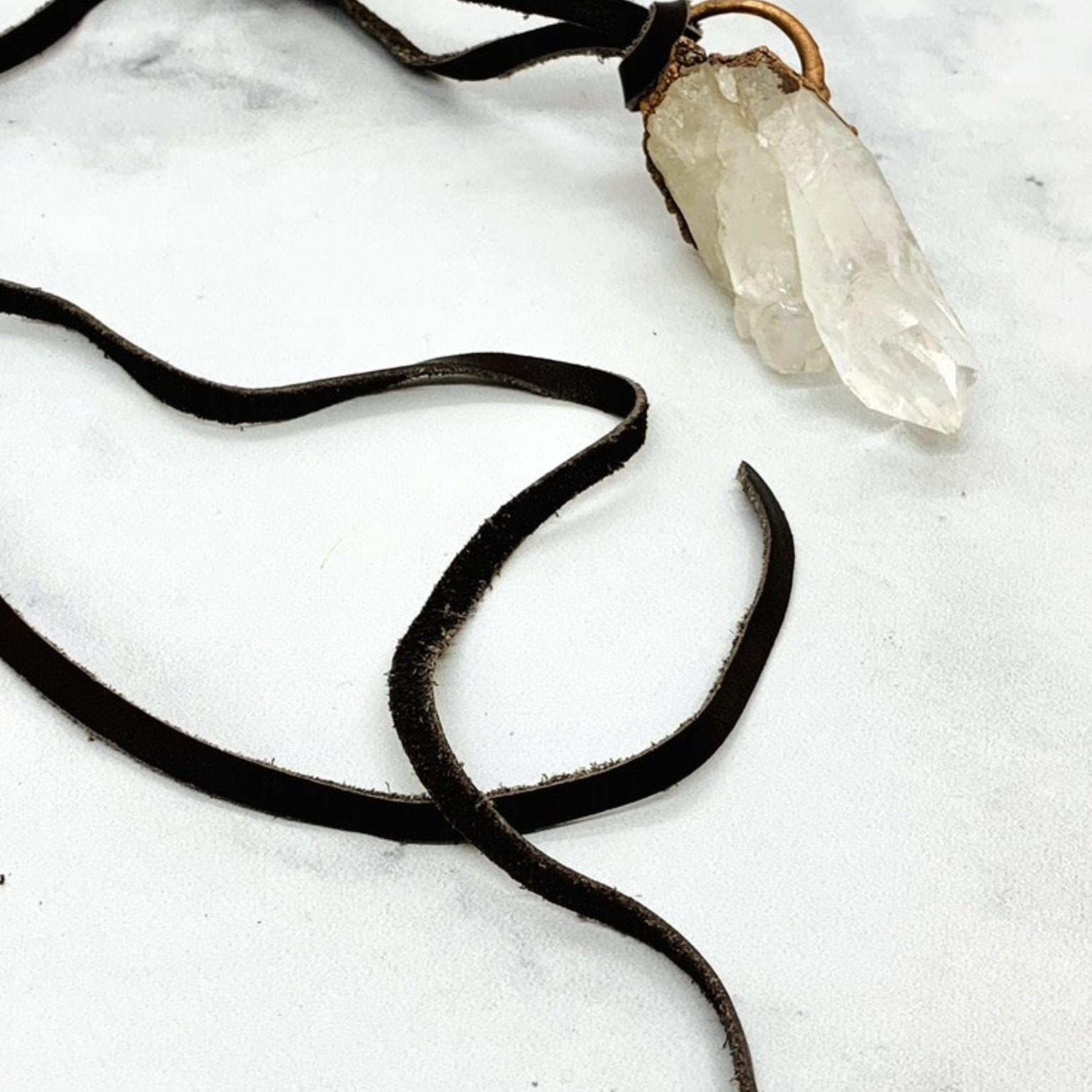 Quartz Cluster Banger on Leather Necklace
