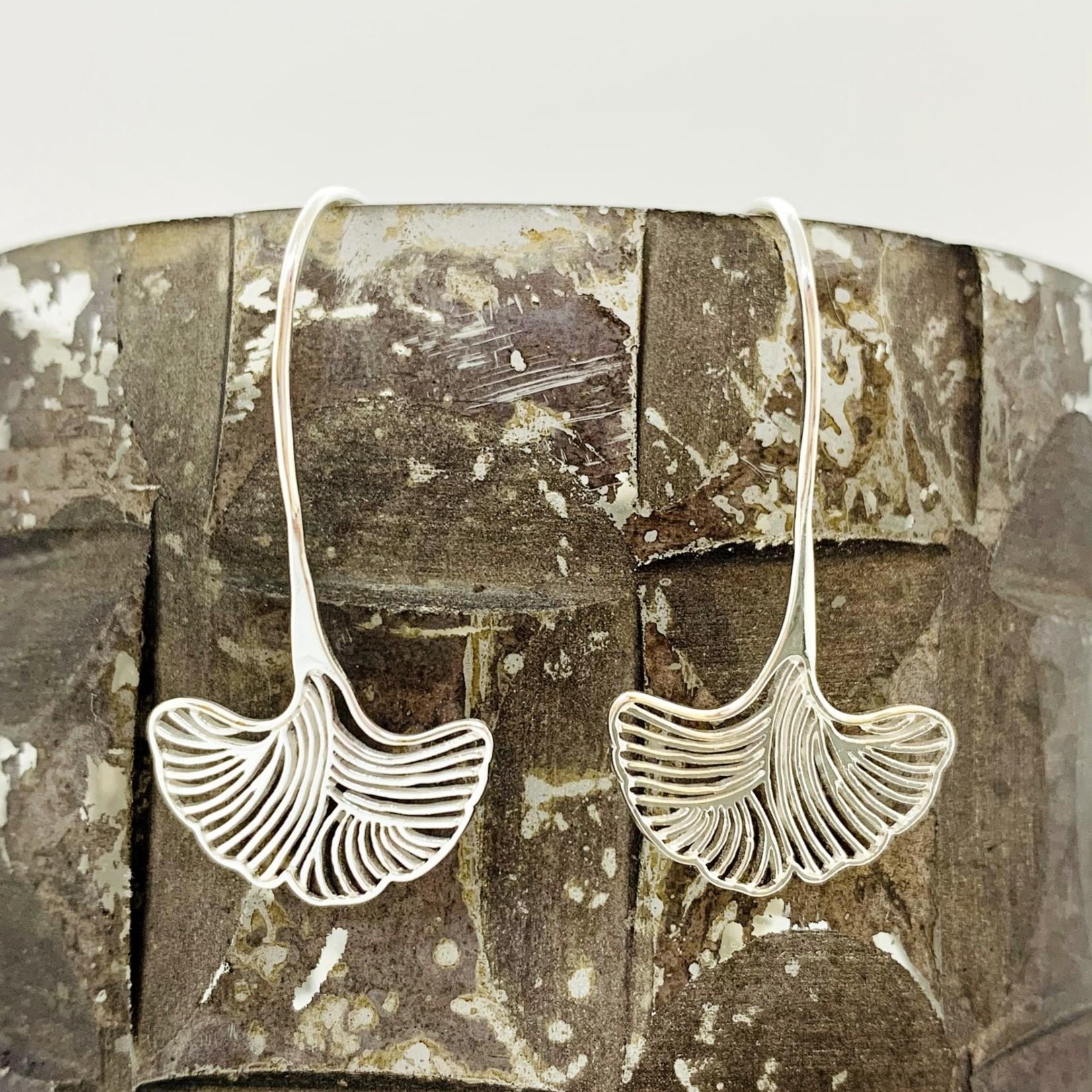 Sterling Silver Ornate Gingko Leaf Earrings