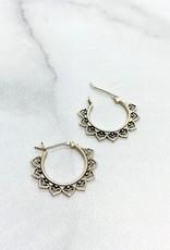 Sterling Silver Lotus Petal Hoop Earrings