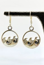 Silver Round Earring with Waves