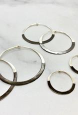 Rhodium Dipped Hammered Hoop Earrings