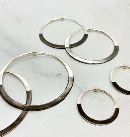 Rhodium Dipped Hammered Hoop Earrings