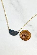 "14k GF and Oxidized Silver Halfmoon ""Resist"" Necklace"