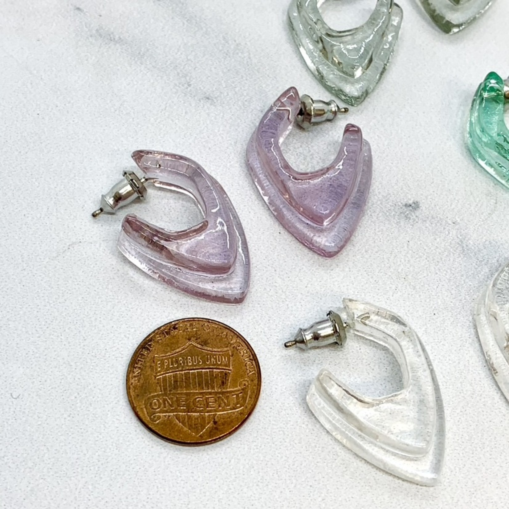 Double Blunt Glass Deco Dagger Earrings in