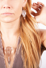 Broken Plates Hot Pressed Glass Deco Dagger Necklace in