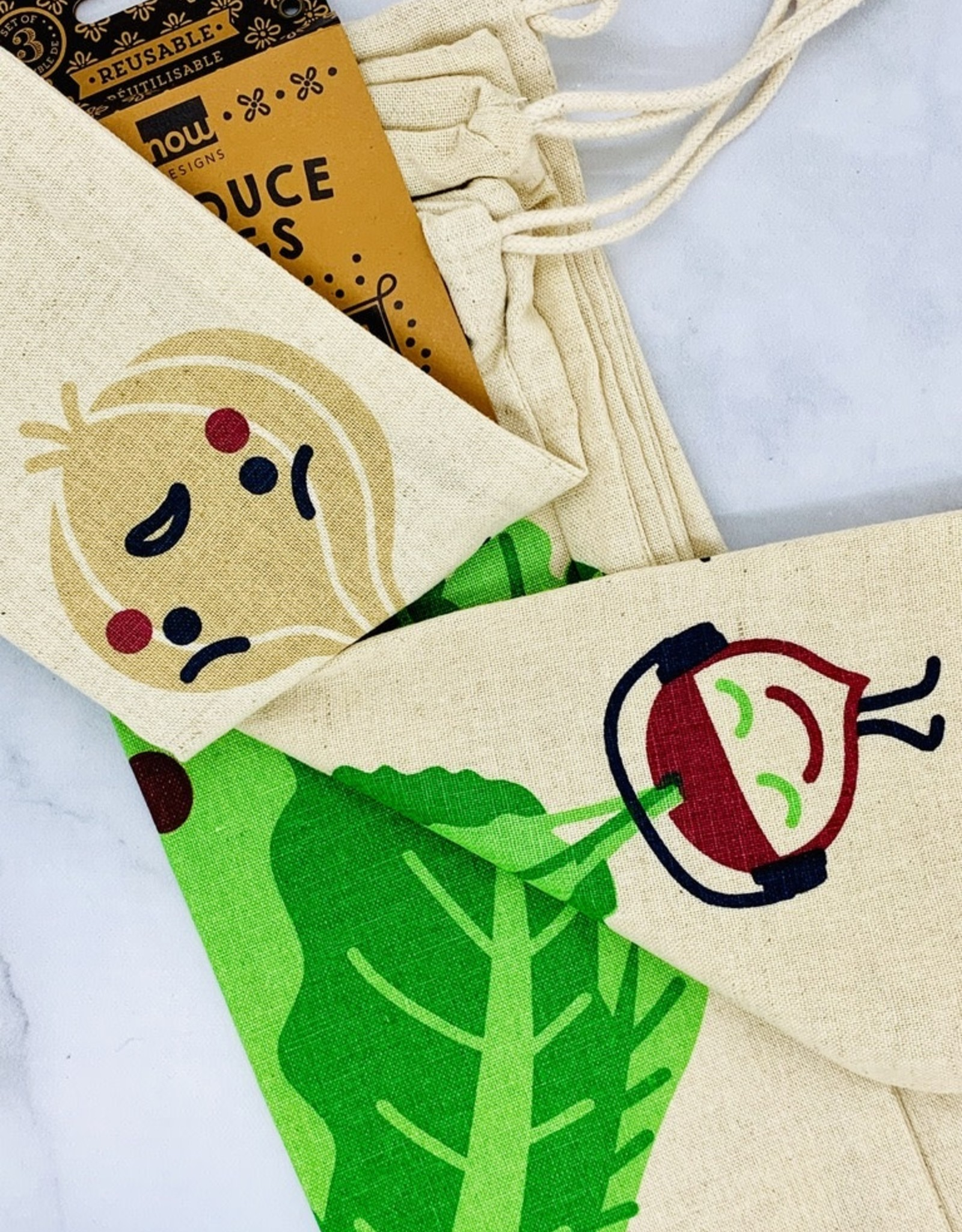 NOW Funny Food Produce Bags Set of 3