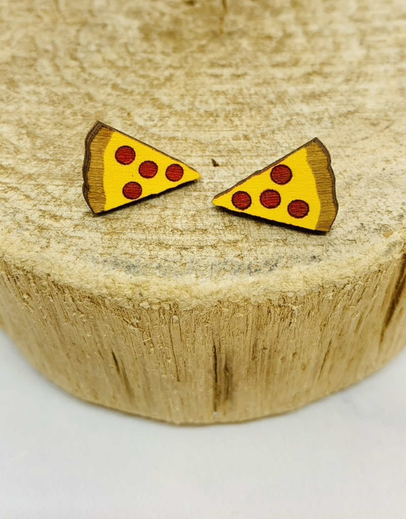Handmade pizza Lasercut Wood Earrings on Sterling Silver Posts