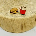 Handmade burger/fries Lasercut Wood Earrings on Sterling Silver Posts
