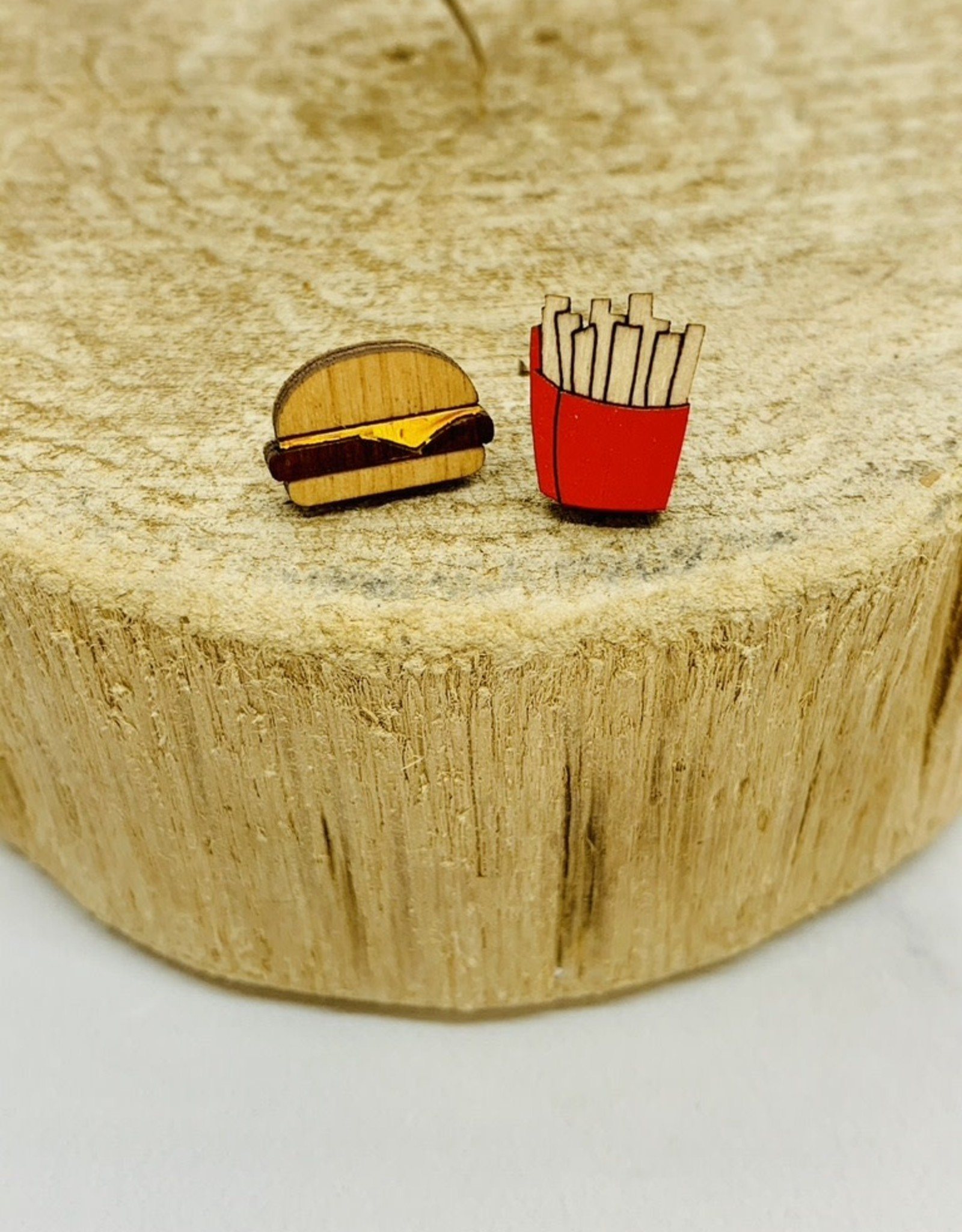 Handmade burger/fries Lasercut Wood Earrings on Sterling Silver Posts