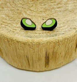 Handmade avocado Lasercut Wood Earrings on Sterling Silver Posts
