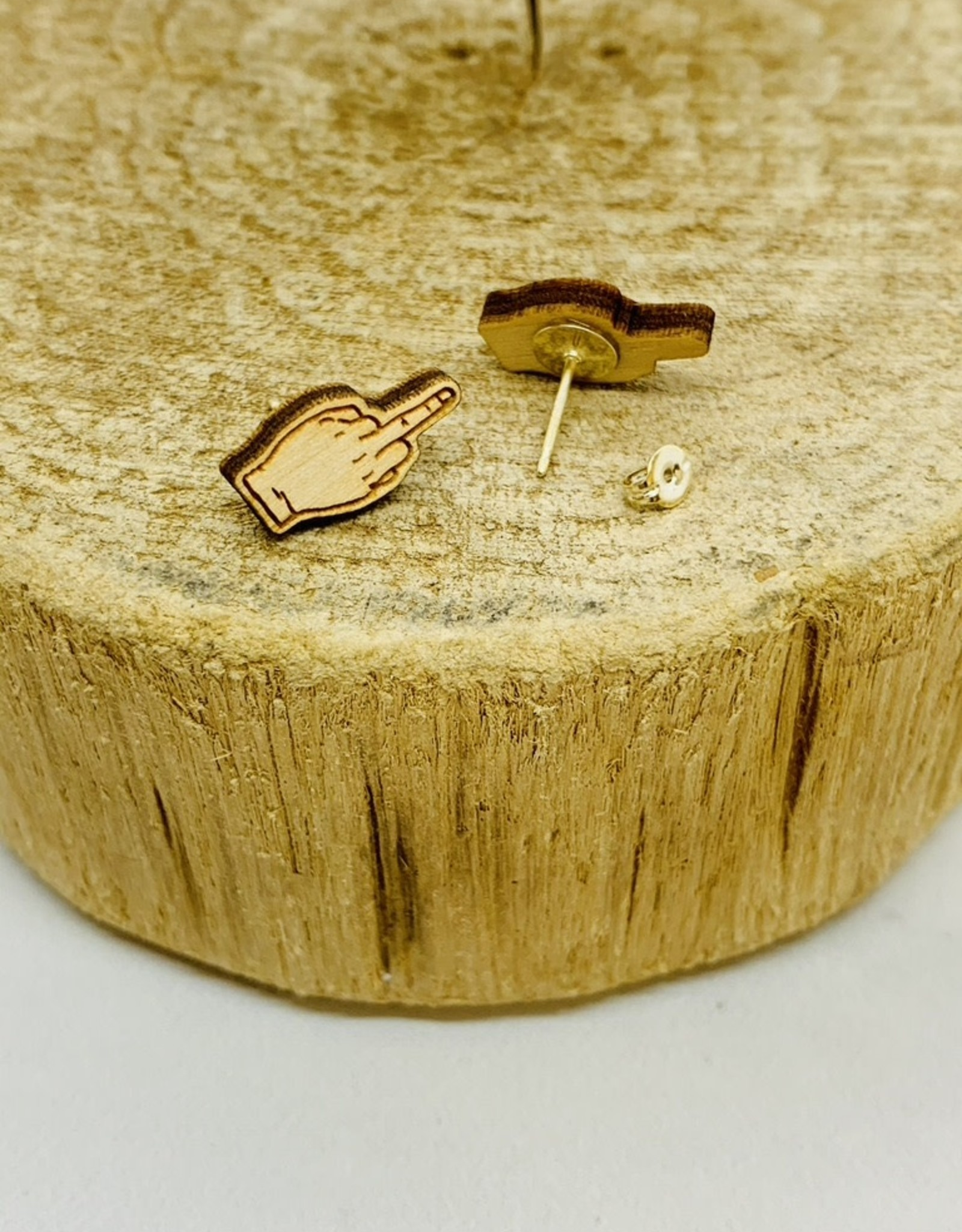 Handmade middle finger Lasercut Wood Earrings on Sterling Silver Posts