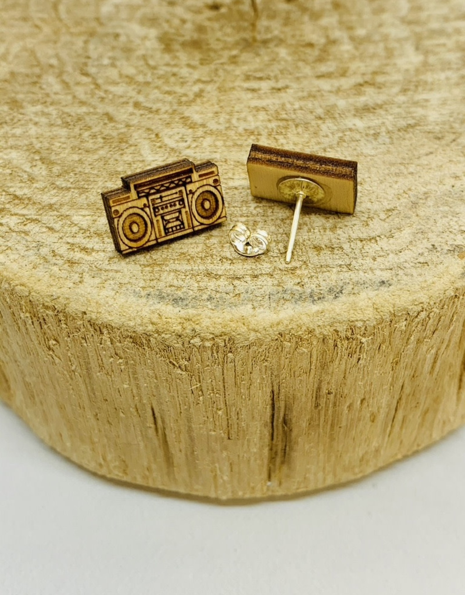 Unpossible Cuts Handmade boombox/tape - natural Lasercut Wood Earrings on Sterling Silver Posts