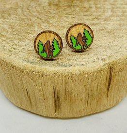 Handmade Bigfoot Lasercut Wood Earrings on Sterling Silver Posts