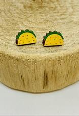 Handmade taco Lasercut Wood Earrings on Sterling Silver Posts