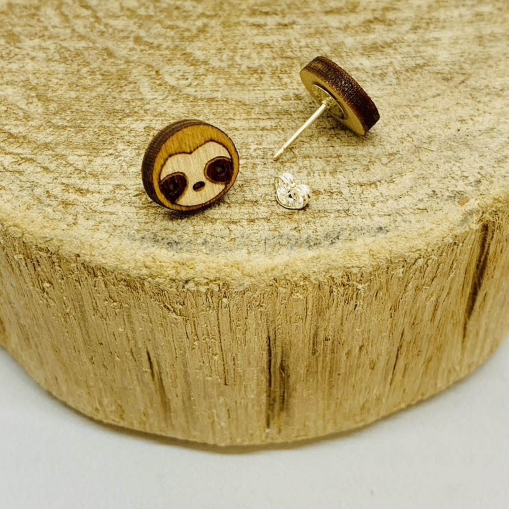 Handmade sloth Lasercut Wood Earrings on Sterling Silver Posts