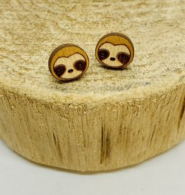 Handmade sloth Lasercut Wood Earrings on Sterling Silver Posts