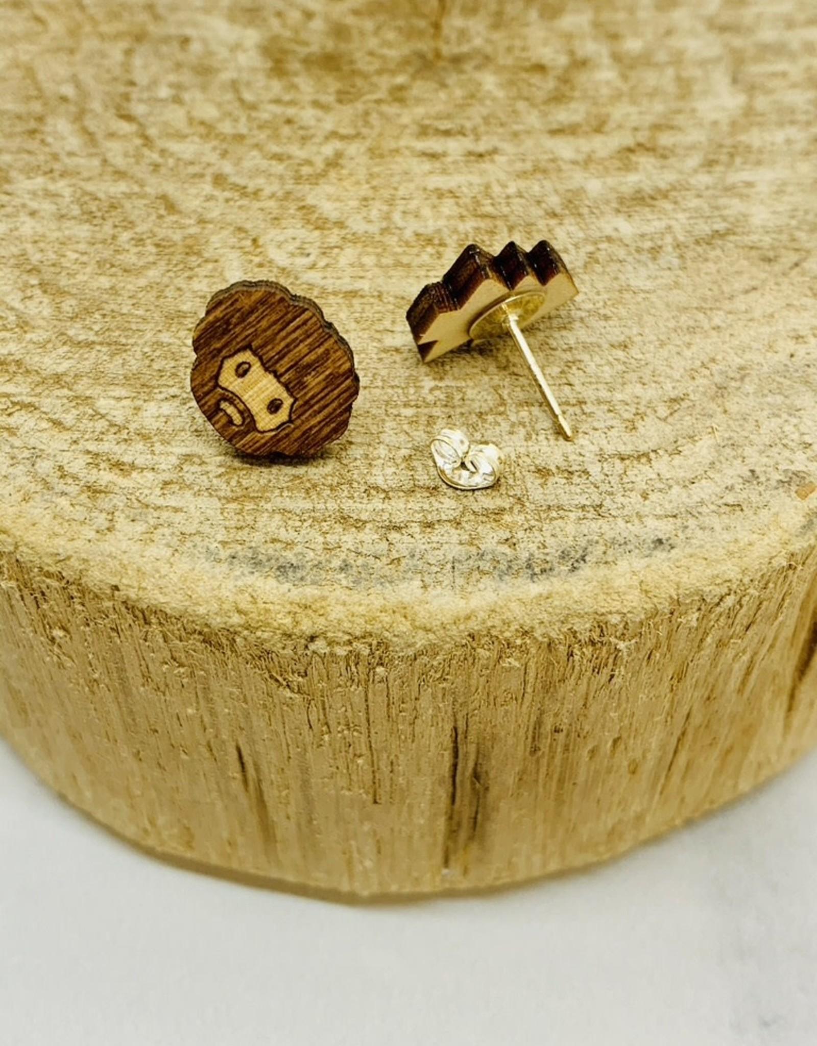 Handmade painter & friend Lasercut Wood Earrings on Sterling Silver Posts
