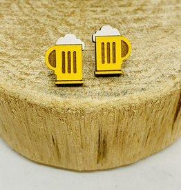 Handmade beer mugs Lasercut Wood Earrings on Sterling Silver Posts