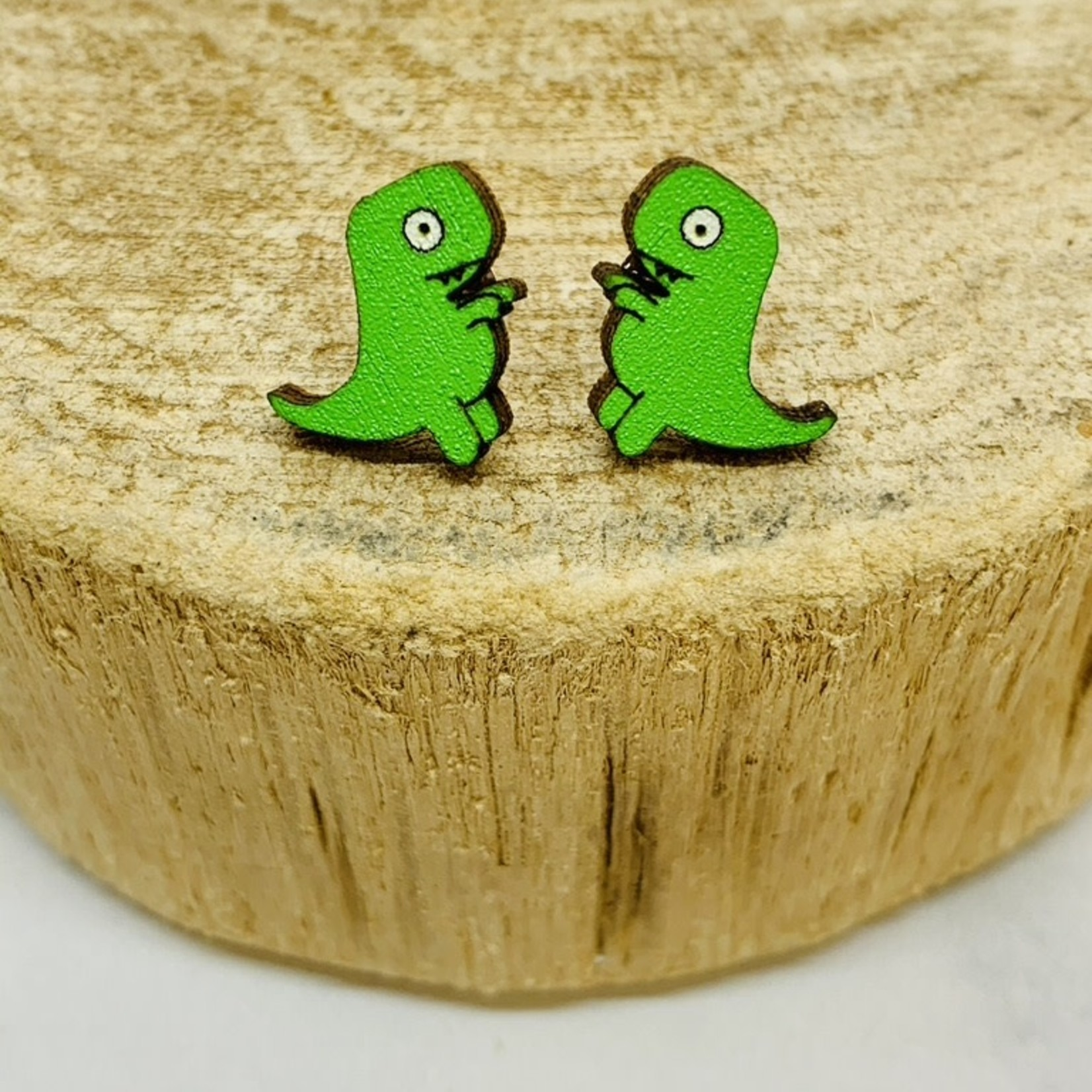 Handmade Short Arms Trex Dino Lasercut Wood Earrings on Sterling Silver Posts
