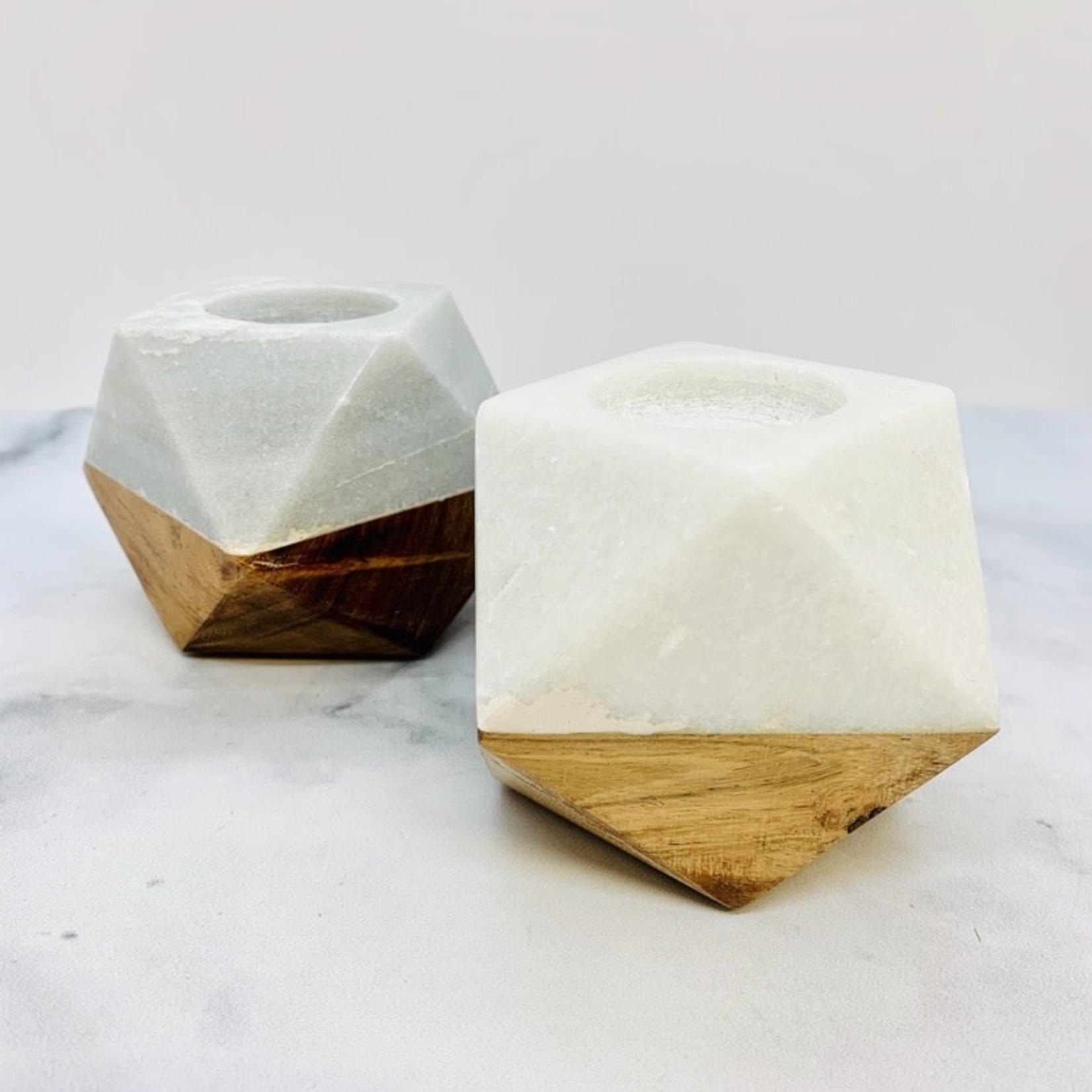 """4""""L x 4""""W x 3""""H Marble & Wood Tealight Holder"""
