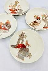 "CREATIVECOOP 5"" Round Animals with Mushrooms  Stoneware Plate"