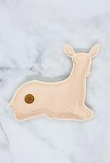"""7""""L x 6""""W Pink Stoneware Deer Dish"""