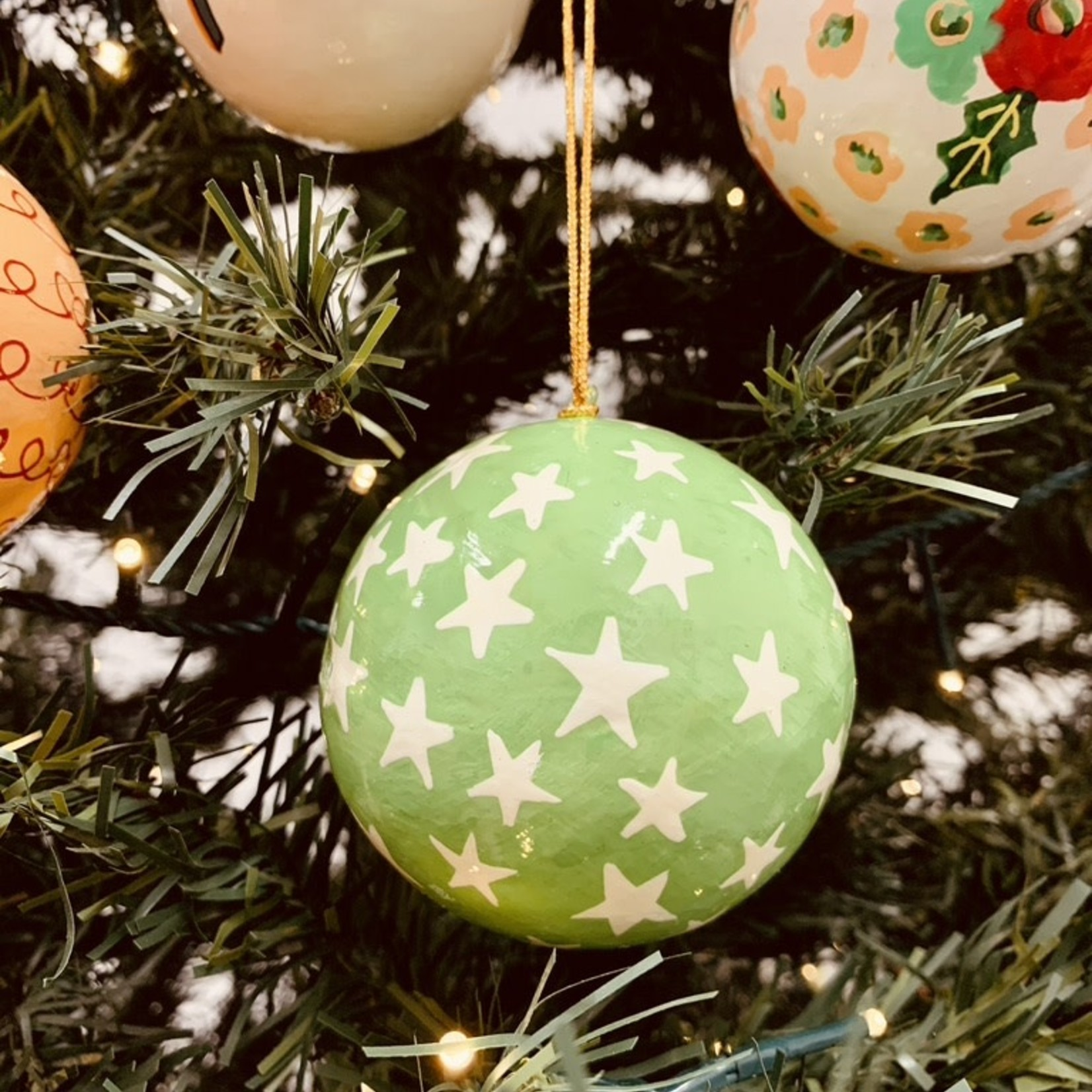 """Hand-Painted Paper Mache Ornaments 3"""""""