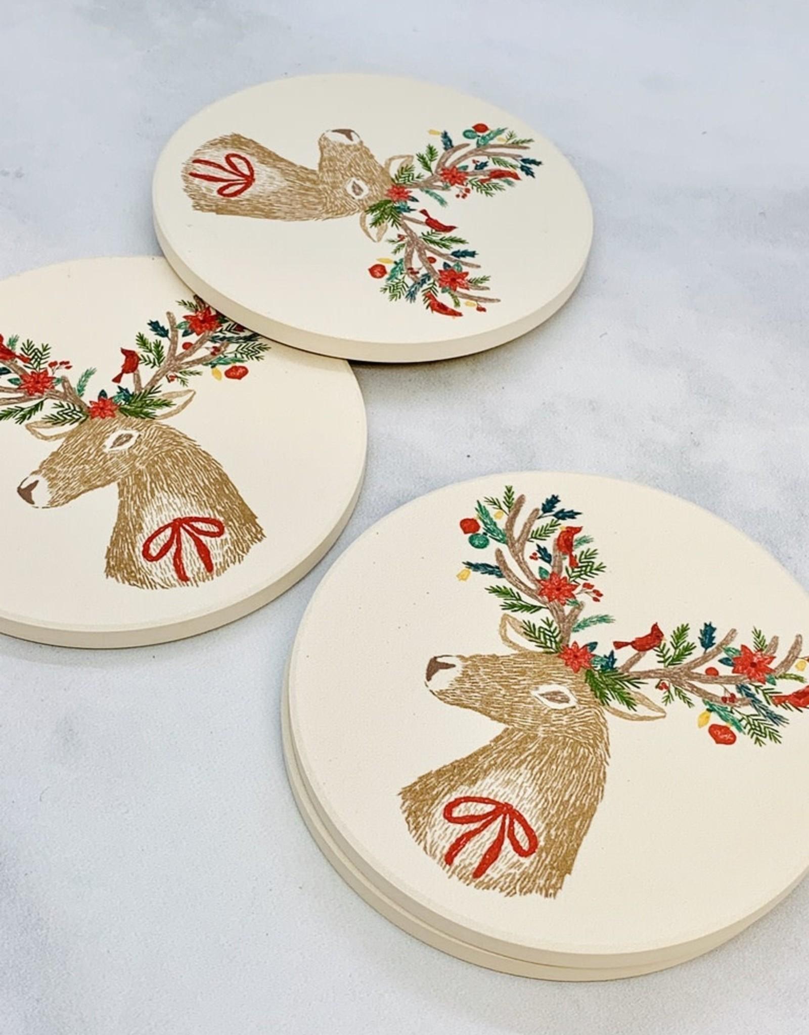 NOW Dasher Deer Soak Up Coaster set/4