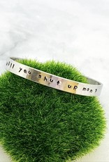 """""""Just shut up man"""" and """"I'm Speaking"""" Aluminum  Cuff Bracelets by Evan Knox"""