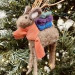 """7""""H Wool Felt Deer Ornament w/ Twig Antlers"""