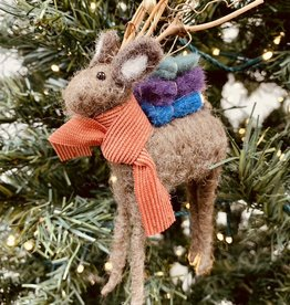 "7""H Wool Felt Deer Ornament w/ Twig Antlers"