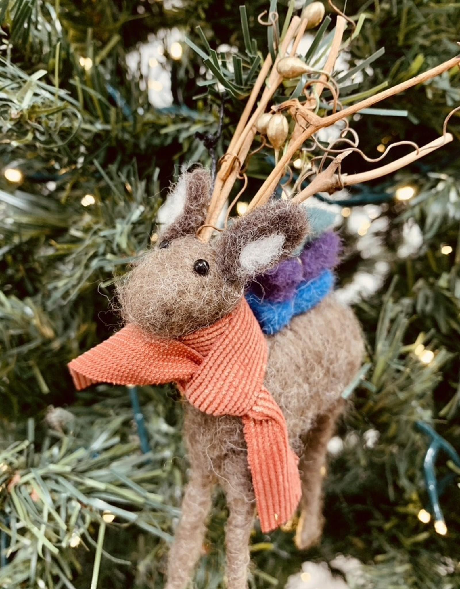 """CREATIVECOOP 7""""H Wool Felt Deer Ornament w/ Twig Antlers"""